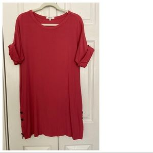 Madewell-the Easy dress-pink red with pockets